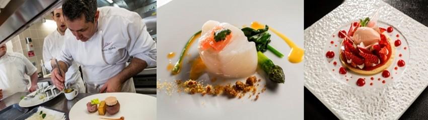 De gauche à droite : 1/ Jérôme Nutile finalise un plat gourmand ; 2/Dos de cabilllaud à l'infusion de pamplemousse, asperges vertes à l'emulsion de cardamome; 3/ comme une tarte aux fraises de pays, crème glacée fraises tagada. ©PCros.
