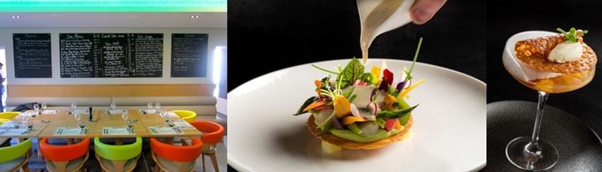 """Au Bistr'AU le chef  propose une cuisine du jour simple mais goûteuse, avec un menu à 22 euros. Les plats """"maison"""", à base de produits frais, sont à savourer en terrasse ou en salle. 2/ Plats gourmands au Mas de Boudan : printanière de légumes de pays cuits crus à l'huile d'olive picholine AOC de Nîmes, jaune d'oeuf tiédi aux anchois, sardine et poutargue; tendre gelée d'agrumes infusés à la verveine et citron, écume de champagne, sorbet coco et gingembre. ©PCros."""