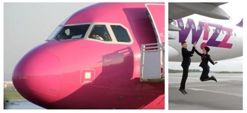 Wizz Air, la compagnie facilement identifiable par ses couleurs rose fuschia, pourpre et blanc. (Crédit photos DR)