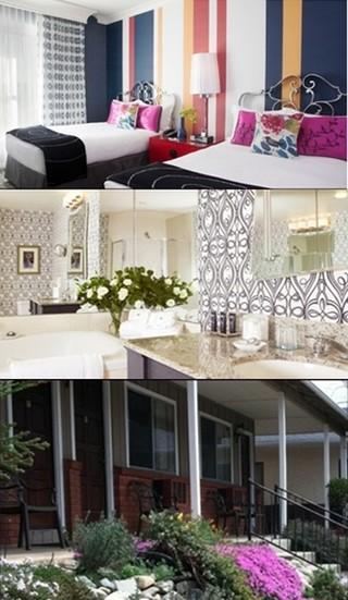 De haut en bas : 1/ Chambre de l'Hôtel Monaco Central à San Francisco   © DR 2/ Salle de bains du même hôtel   © DR; 3/ Entrée de L' Hôtel Mariposa , un motel tel qu'on les imagine dans un petit village de l'Ouest © DR.