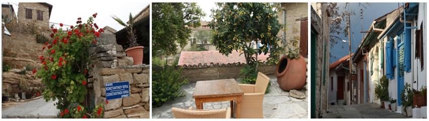 1/2/ Les Cyprus villages offrent un hébergement pittoresque dans les maisons de Tochni et Kalavos, à l'est du pays.  © P. Cros  3/ Ruelle du village d'Omodos dans la région de Limassol © P. Cros