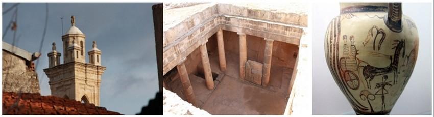 De gauche à droite : Minaret Omodos  © P. Cros ;Tombeau des rois-Paphos © P. Cros;  Une oeuvre antique à voir Musee archeologique Chypre   © P. Cros