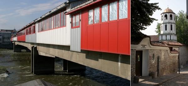 De gauche à droite : Un pont Galerie Commerciale sur la Maritsa et l'Hôtel Novotel, une   position stratégique au Coeur de la Ville sur les bords de la Maritsa  © Richard Bayon; Entrée du Musée des Antiquités. © visit.plovdiv.com