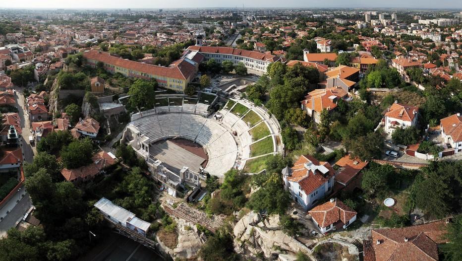 Vue aérienne sur Plovdiv qui est, par sa taille, la seconde ville Bulgare. Elle s'étend sur les bords de la rivière Maritsa. © www.bulgariatravel.com