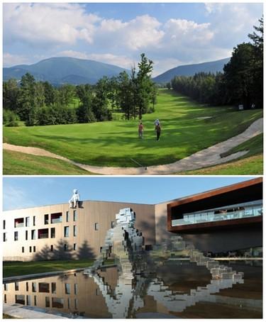 De haut en bas : Le club de golf Prosper : bien-être et golf sous les Beskydy ;  Hôtel Miura à Čeladná en Moravie   ©  www.czechtourism.com/fr