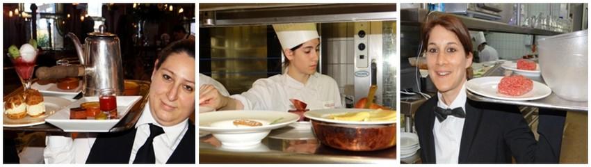La gent féminine est très présente dans le service en salle mais également en cuisine. .©  Bertrand Munier
