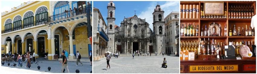 1/ Plaza Vieja et ses belles demeures © Catherine Gary 2/ Place de la cathédrale à La Havane © Catherine Gary 3/Bodegita del Médio, le bar favori d'Hemingway, un fervent de l'île à l'époque. © Catherine Gary