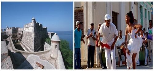 1/  Castillo del Morro de San Pedro de la Roca (Unesco)  © DR ;  Les danseurs dansent aux rythmes de la salsa et du cha..cha...cha. Une tradition à Cuba © DR