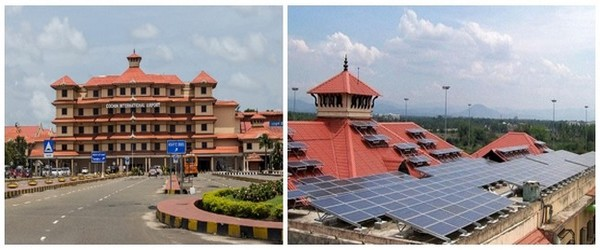 Aéroport International de Cochin (Inde) , à droite détail, sur le toit de l'immeuble aéroportuaire solaire, de l'installation des plaques photovoltaïques (Crédit photos DR)