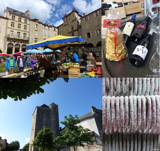 1/ En haut à gauche : Marché de Villefranche de Rouergue ; 2/ Gâteau à la broche et vins de l'Aveyron ; 3/ Bas à gauche : Une vue de Villeneuve d'Aveyron ; 4/ Spécialité de charcuterie aveyronnaise ;  (© Yann Menguy)