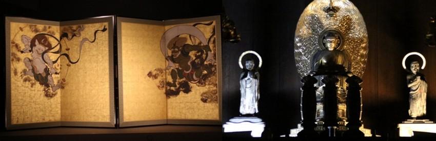 1/ le temple Kennin-ji avec son paravent doré à l'or et ses nombreux objets et peintures sacrés.  © Mathis Cros