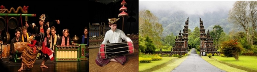 Photos 1 et 2/ art du gamelan, un art musical fascinant provenant d'une culture très ancienne issue de la région centrale de Java.  (Crédit photos DR), 3/ Un paysage balinais (Crédit photo DR)