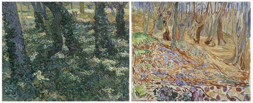 """©  """"Sous bois"""" de Vincent van Gogh, 1889. Van Gogh Museum, Amsterdam. """"Printemps dans la forêt d'ormes"""" de Edvard Munch,1923. Musée Munch, Oslo"""