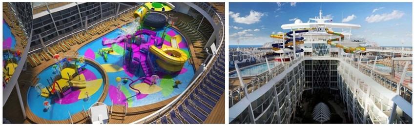 Ce paquebot de nouvelle génération proposera un parc aquatique interactif, destiné aux enfants et aux tout-petits. Adolescents et adultes  découvriront un toboggan géant haut d'une dizaine de mètres .(Crédit photos DR)