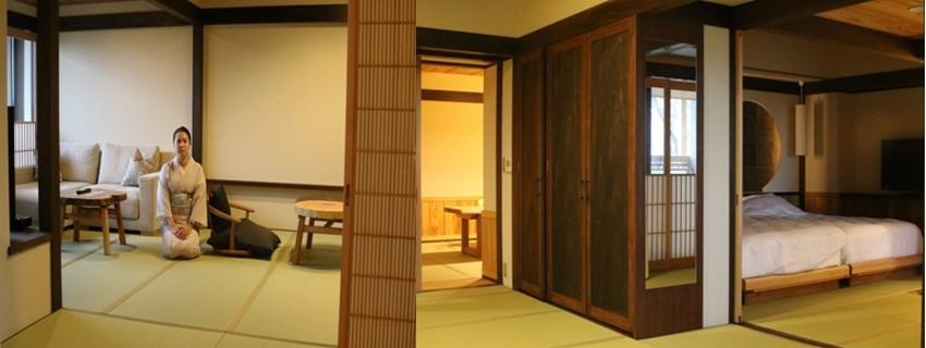 les 20 chambres de l'Hôtel Madoka No Mori ont une décoration simple, raffinée et fonctionnelle. © Mathis Cros.