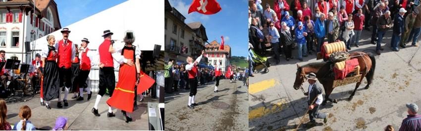 Ambiance festive lors de la désalpe qui marque la fin des travaux et la paye pour les armaillis. A planfayon, toutes les activités traditionnelles sont présentes : lancer de drapeau, cor des Alpes, orchestre, danses  avec le groupe folklorique, Trachtengruppe de Düdingen, chants Yodl etc...  © André Degon