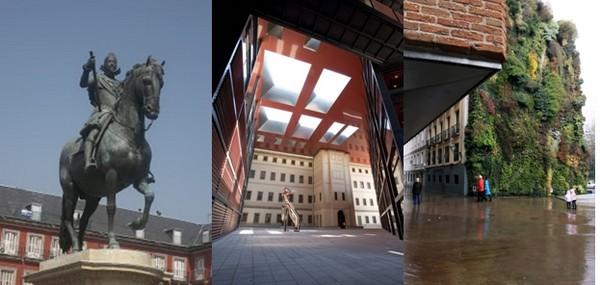 Madrid sa plaza Mayor avec en son centre la célèbre statue équestre de Philippe III, son Paseo del Arte et ses prestigieux musées dont celui de la Reina Sofía qui abrite le Guernica de Picasso. © David Raynal