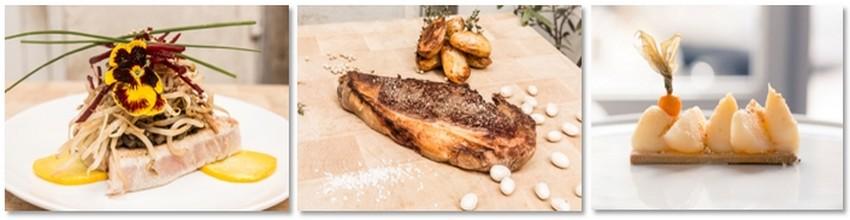 4 entrées, 4 plats et 4 desserts sont proposés à la carte qui se renouvelle sans cesse grâce à la créativité de Arnaud Brière, le chef inspiré du bistrot Le Blanc Bec. © DR
