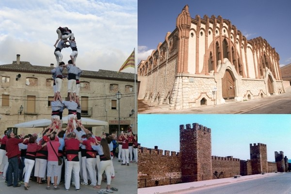 1/ A Montblanc, les tours humaines rivalisent de hauteur © Catherine Gary ; Celler moderniste de Nulles  - ©  Miguel Raurich ; Les murailles de Montblanc (Catalogne) © DR