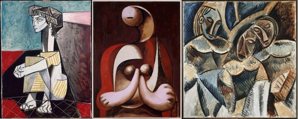 Jaqueline aux mains croisées, juin 1954, huile sur toile, RMN-GP/Jean Gilles Berizzi;Femme assise dans un fauteuil rouge, 1932, huile sur toile, RMN-GP/René-Gabriel Ojéda;Trois figures sous un arbre, 1907-1908, huile sur toile,Succession Picasso