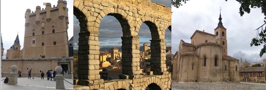 A Ségovie,  l'Alcazar un site défensif exceptionnel.  © Catherine Gary ; Les 166 arches de l'aqueduc romain, 38 mètres de haut  © Catherine Gary;  San Millan, la petite église romane située au cœur de la ville. © Catherine Gary