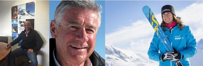 Tous, de François Bajily (directeur des Alpe d'Huez Tourisme) à Christian Reverbet (Directeur du Service des pistes) sans oublier Ophélie David, championne de ski-cross, abordent, le sourire aux lèvres, le coup d'envoi de la saison 2015 de la Station d'Alpe d'Huez.  © L.Salino