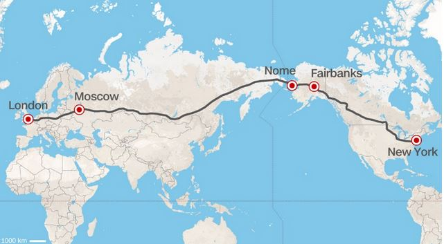 Trans-Eurasian Belt Development : Londres/New York en passant par Moscou et l'Alaska...  © DR