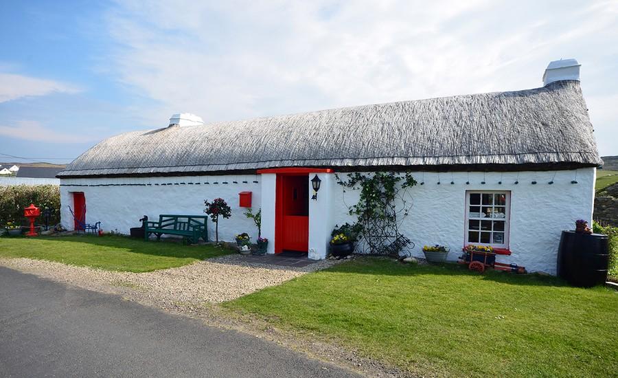 Dans le Comté de Wexford  cottages aux toits de chaume, façades blanchies à la chaux, buissons de lupins, de pavots, de genets le long des murets.  © David Raynal