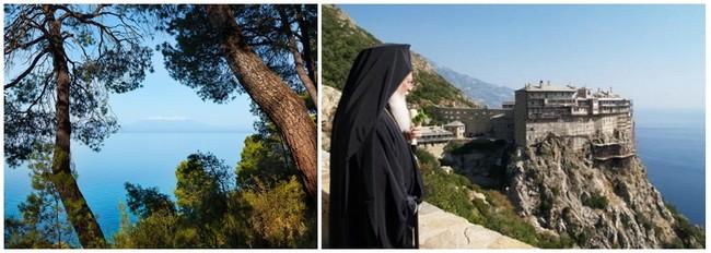 La mer Egée, au loin le mont Olympe © visitgreece.gr. ; le Mont Athos est à la chrétienté orthodoxe ce qu'est le Vatican à l'église catholique. © www.visit-halkidiki.gr