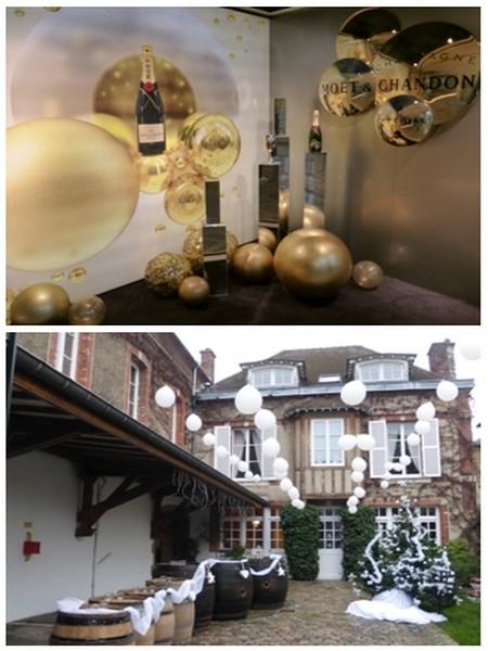 1/ Moet & Chandon en  noir et or pour les fêtes  © Ville d'Epernay. 2/ Chambres d'hôtes décorées.   Chaque année aux mêmes dates, les Habits de Lumière fêtent le champagne.  © Ville d'Epernay.