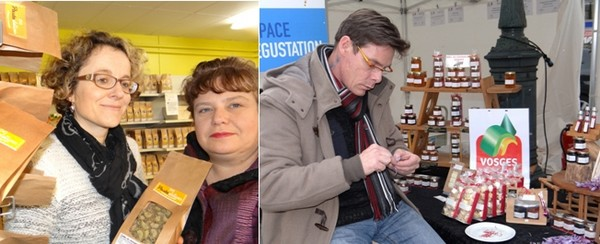 De gauche à droite : Désormais Stéphanie Richard (à gauche) exporte ses pâtes en Belgique grâce à Lysiane Demjanin. © Bertrand Munier ; ) Ce n'est pas une galéjade, le safran se cultive dans les Vosges à Plombières-les-Bains grâce à Richard Thierry au « Domaine des Payoux ». © Bertrand Munier