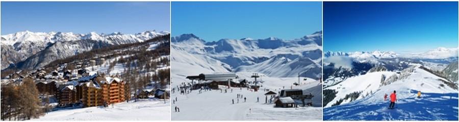 De gauche à droite : Le domaine de Risoul dans les Hautes-Alpes. ©Labellemontagne.;  Le plateau du Rocherousse à Orcières. ©Labellemontagne.; La station de Praz-sur-Arly sur l'Espace Diamant. ©Labellemontagne.