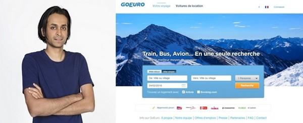 """De gauche à droite : Naren Shaam, est le président-directeur général, créateur et fondateur du site © GoEuro ; 2/ Home page du site """"GoEuro"""" © DR"""