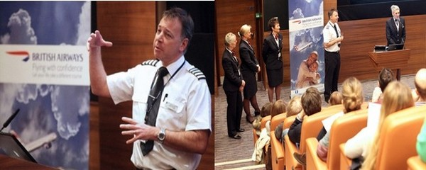 Les cours  « Flying with confidence » sont dispensés par des pilotes et des membres du personnel British Airways dont le  commandant de bord Steve Allright . © British Airways