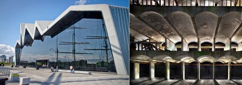 De gauche à droite : Riverside Museum © visitscotland.com; « Hinterland », Séminaire Saint-Pierre, Cardross, 18 – 27 mars qui marquera aussi le début de la rénovation des lieux.  © visitscotland.com