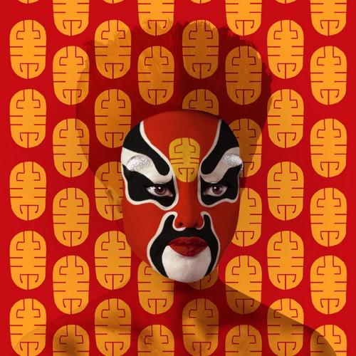 Dans sa série Masques de l'Opéra de Pékin une des oeuvres du Français  Orlan, qui vit entre Paris, Los Angeles et New York .© abbayedejumièges