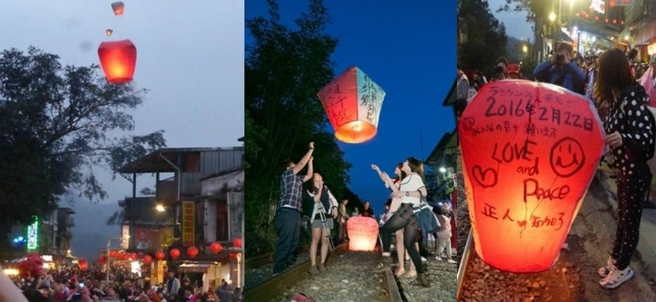 A la nuit tombée, lancer de lanternes à Pingxi.   © Catherine Gary
