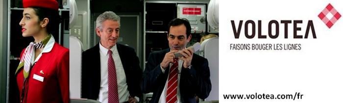De gauche à droite : Hôtesse en uniforme de Volotea © Loïck Ducrey; Lazaro Ros (à gauche), Directeur Général Carlos Munoz (à droite), Président Directeur Général  tout deux co-fondateurs de la Compagnie aérienne Volotea.© Loïck Ducrey