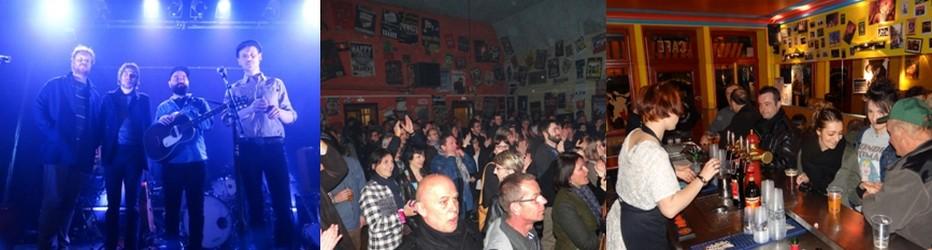 Le groupe de country-folk Dalton Telegramme, composé de quatre musiciens francophones originaires de Liège en Belgique, fut lauréat du festival Génération Réservoir 2016. Pour l'occasion, il succéda dans ce palmarès à la chanteuses Zaz. Il se produisait ce dernier dimanche de Pâques « Chez Narcisse ». ©Bertrand Munier; Ambiance garantie « Chez Narcisse ». ©Bertrand Munier ;Le bar, qui est ouvert toute l'année du vendredi au dimanche, est une institution au Val d'Ajol. ©Bertrand Munier