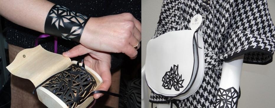 Des sacs à mains magnifiques mais aussi des bracelets contemporains en cuir ajouré. ©Bertrand Munier