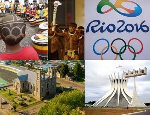 Avant d'être remise lors de la cérémonie d'ouverture des Jeux de Rio 2016 le 5 août prochain, la torche Olympique traversera 355 villes brésiliennes. (Copyright www.rio2016.com/fr et visitbrasil.com/  )