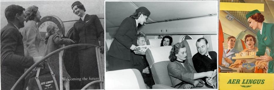 L'année 1958 marquera également la mise en service du premier vol transatlantique d'Aer Lingus depuis Dublin et Shannon vers New York.; Photo 3/ 1950s Transatlantic Service Poster. © Archives Aer Lingus