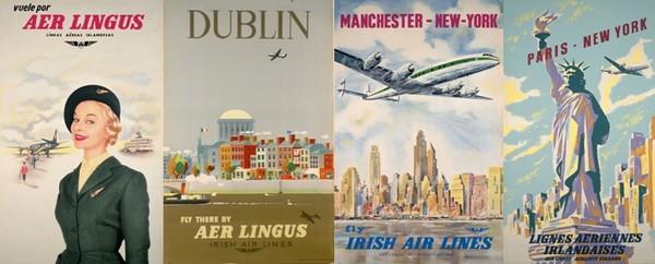 Quelques unes des affiches qui ont marqué l'évolution au cours des années les trajets  d'Aer Lingus. © Archives Aer Lingus