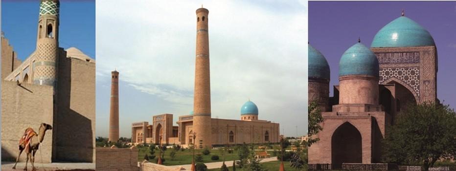 De gauche à droite : Khiva le centre religieux et intellectuel de Boukhara où vécurent quelques-uns des plus grands savants de l'Islam © lesbourlingueurs.com;Tachkent l'actuelle capitale de la République d'Ouzbékistan, autrefois l'une des étapes les plus glorieuses et commerciales de la Route de la soie.© Mondo Terra ; Centre historique de shakhrisabz avec le complexe Dorut Tilavat et la mosquée Kok Gumbaz; © Mondo Terra