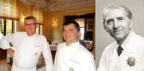 De gauche à droite : Les deux chefs étoilés et maîtres cuisiniers de France : Claudy Obriot et Stéphane Ringer. ©Bertrand Munier ;  Le chef étoilé Hubert Cleuvenot (1917-2012) ©Michel et Christine Marion