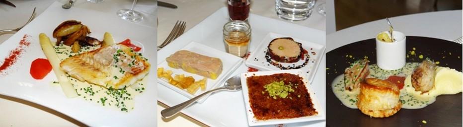 Quelques suggestions à la table des « Ducs » : Dos de sandre rôti à la poêle. Déclinaison de foie gras de canard. Assiette autour de la caille fermière de la Saône vosgienne. ©Bertrand Munier