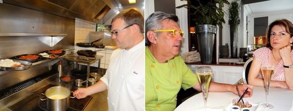 De gauche à droite : ) Rémi Gornet est second de cuisine aux Ducs De Lorraine depuis 2001. ©Bertrand Munier ; Le chef Claudy Obriot en compagnie de Séverine… une gastronome vosgienne avertie. ©Bertrand Munier
