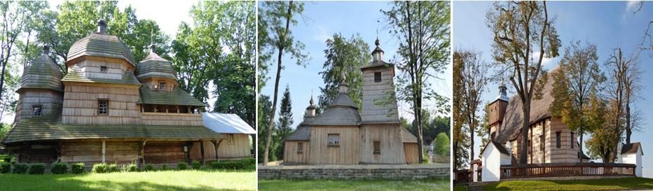 De gauche à droite : Eglise de Chottyniecet sa galerie extérieure © Catherine Gary;Eglise de Baluucianka © Catherine Gary; Eglise de Blizne © O.T.Pologne