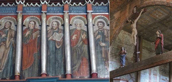 De gauche à droite : Icônes dans l'église en bois de Haczow © Catherine Gary; Blizne église © O.T.Pologne
